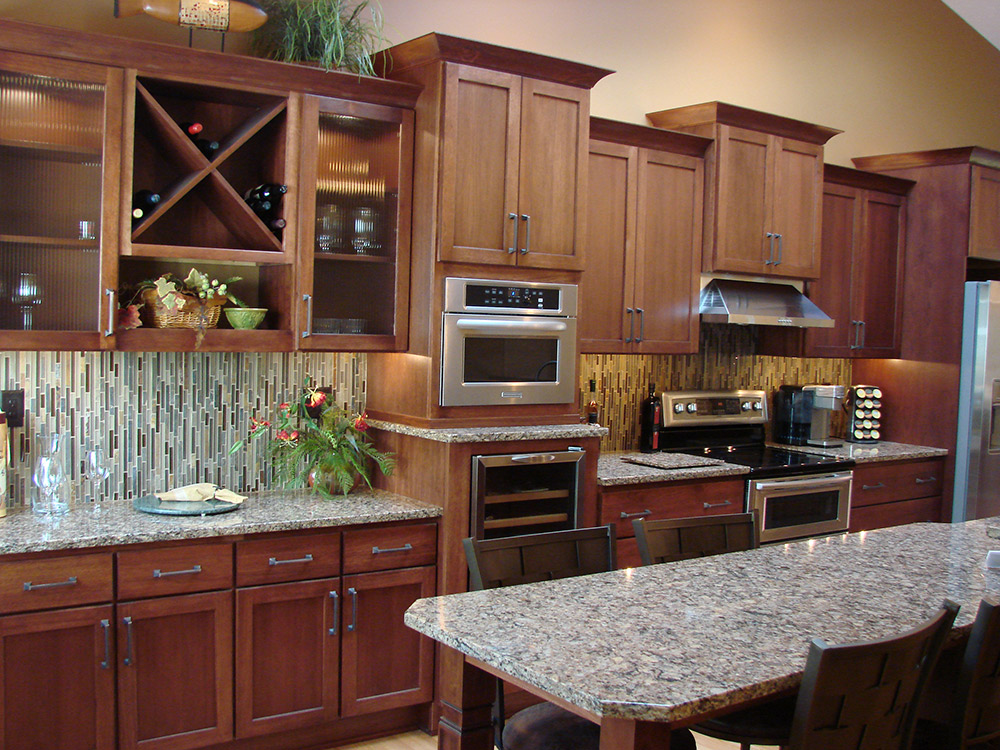 A kitchen remodeling project can include a wine rack.