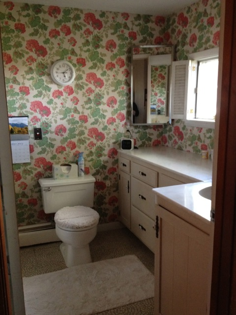 bathroom with flowery wallpaper