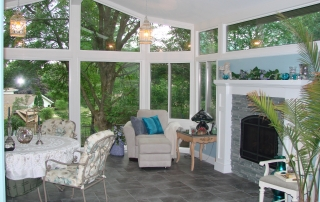 Four Season Interior Sunroom with Fireplace