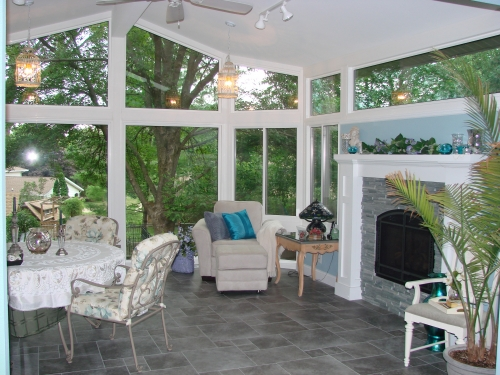Home town restyling start to finish video four season for Sunrooms with fireplaces