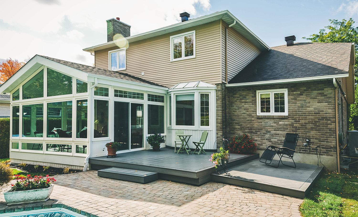 Exterior View of Three or Four Season Sunroom in Iowa| Home Town Restyling