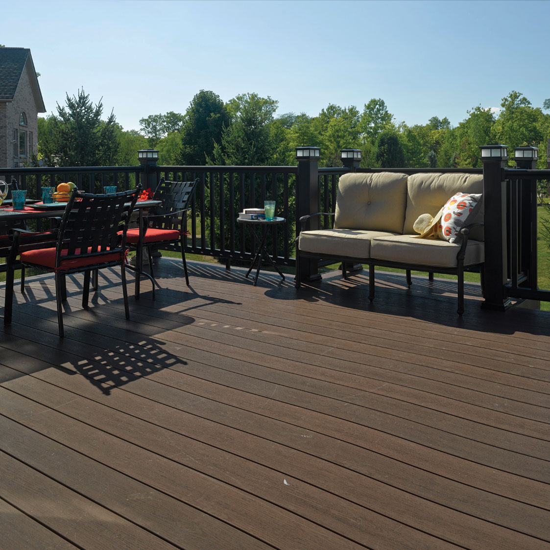 Beautiful outdoor space made by custom deck builders.